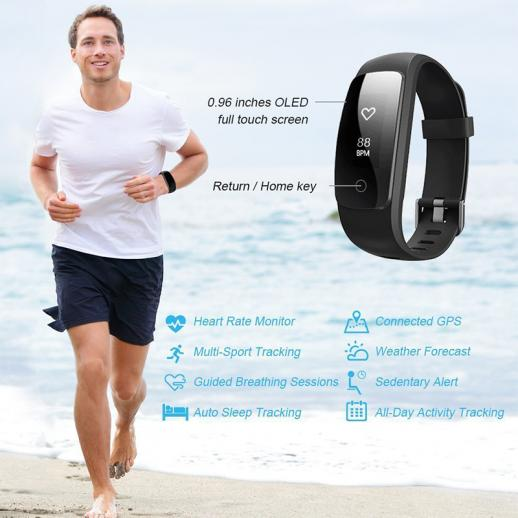 Cardiofrequenzimetro ID107Plus Smart Bracelet Fitness Tracker - Nero